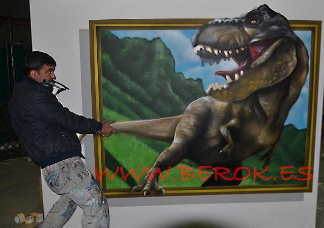 graffiti en 3d de dinosaurio
