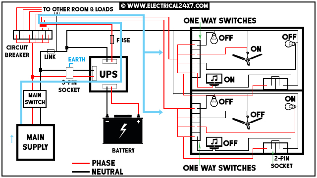[DHAV_9290]  Automatic and manual UPS system wiring for home or office with circuit  diagram | Ups Battery Wiring Diagram |  | Electrical24x7.com - blogger