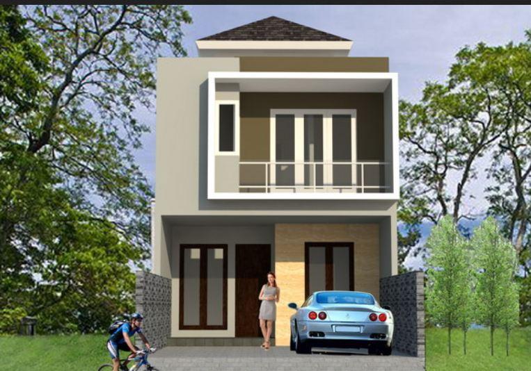 Inspirasi design rumah minimalis tipe 45 2 Lantai tanpa taman