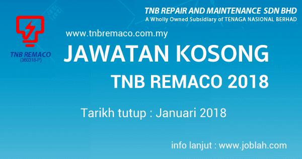 Jawatan kosong TNB Remaco Januari 2018