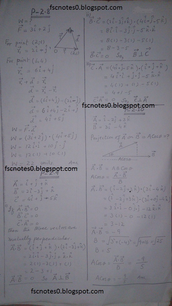 F.Sc ICS Notes: Physics XI: Chapter 2 Vectors and Equilibrium Numerical Problems Asad Hussain 2