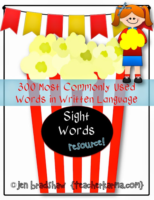 Sight Word List FREEBIE TeacherKARMA.com