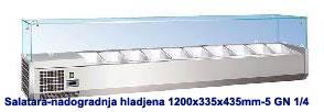 Temperatura: +2 do +8 °C Materijal izrade: Inox Plin: R134 A. Digitalni termostat Statički sistem hlađenja Dimenzije: 1200x335x435 mm Kapacitet: 5 GN 1/4 * GN posude nisu uračunate u cenu
