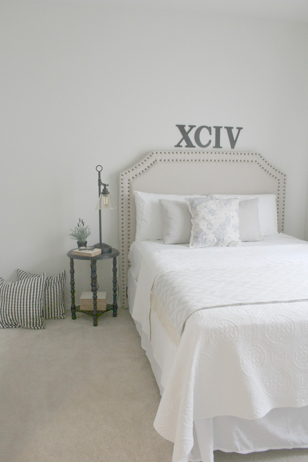 DIY bedroom decor makeover with serene, European inspired modern farmhouse style by Hello Lovely Studio