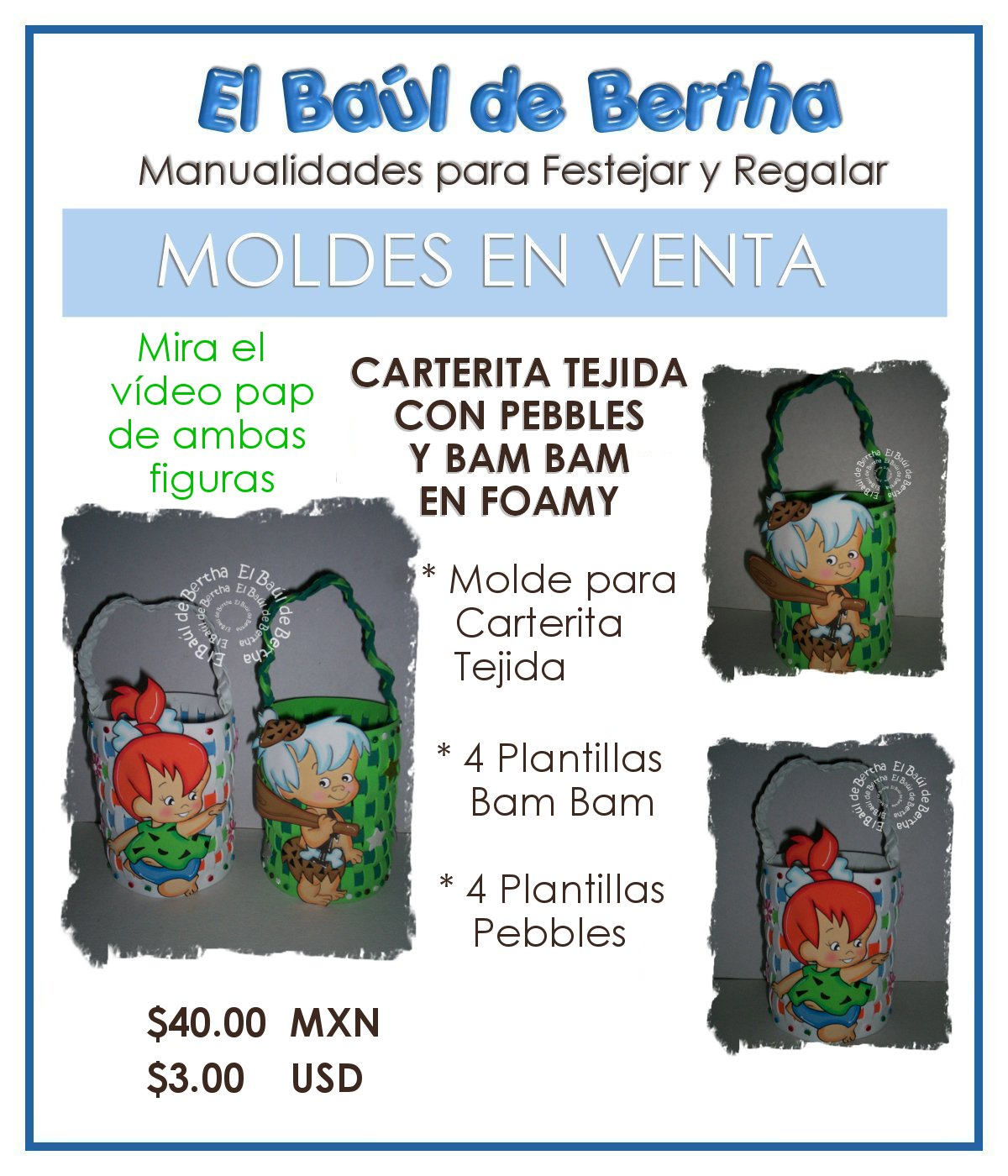 Carterita Tejida con Pebbles y Bam Bam BannerVentadeMoldeCarteritaTejida