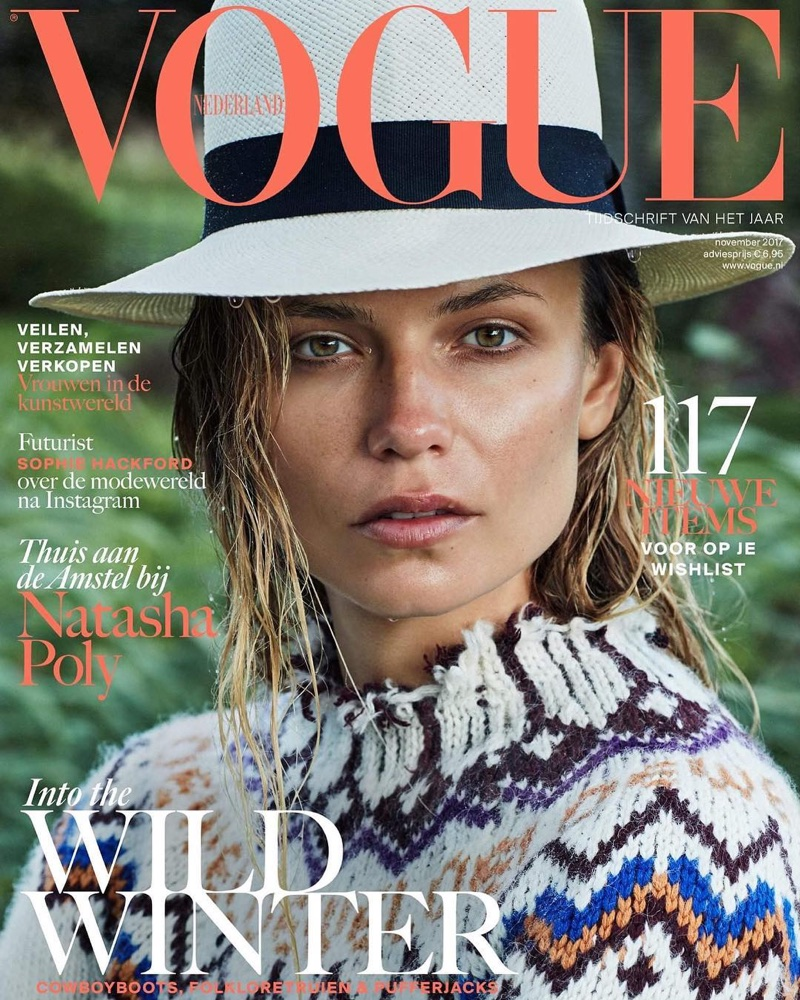 Natasha Poly wears chic ensembles for Vogue Netherlands