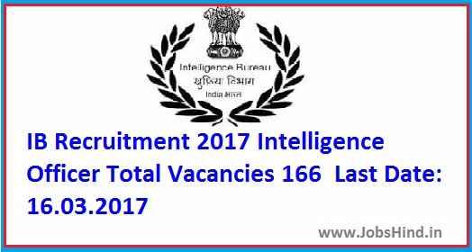 IB Recruitment 2017, 166 JIO Posts Ke Liye , Apply online Kare @ www.amravati.nic.in