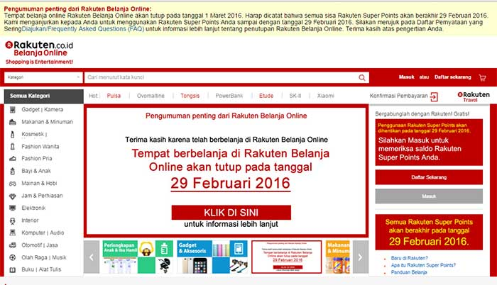 Rakuten Toko Belanja Online Tutup
