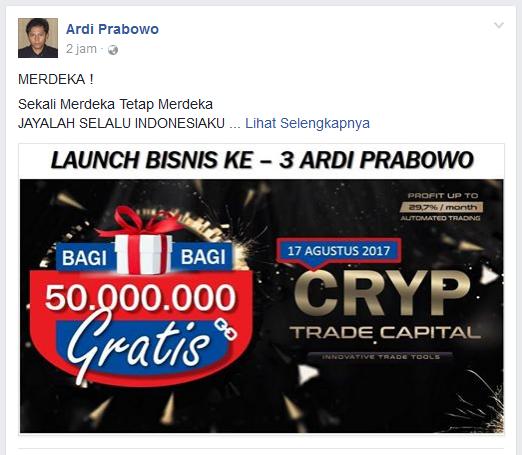 Ardi Prabowo Promosikan Cryptrade