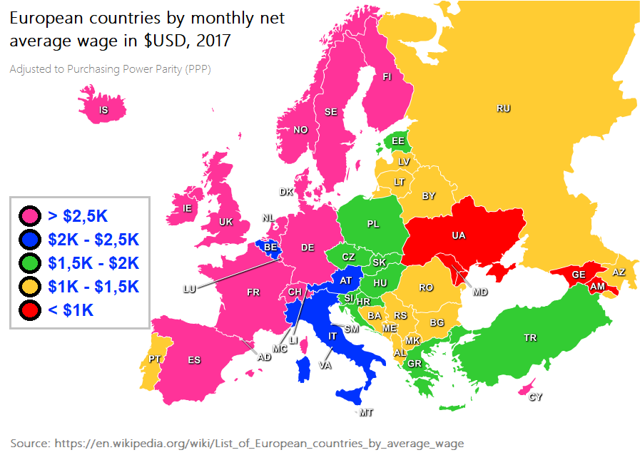 European countries by monthly net average wage