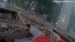 Biztosító kötél nélkül az Eiffel toronyra