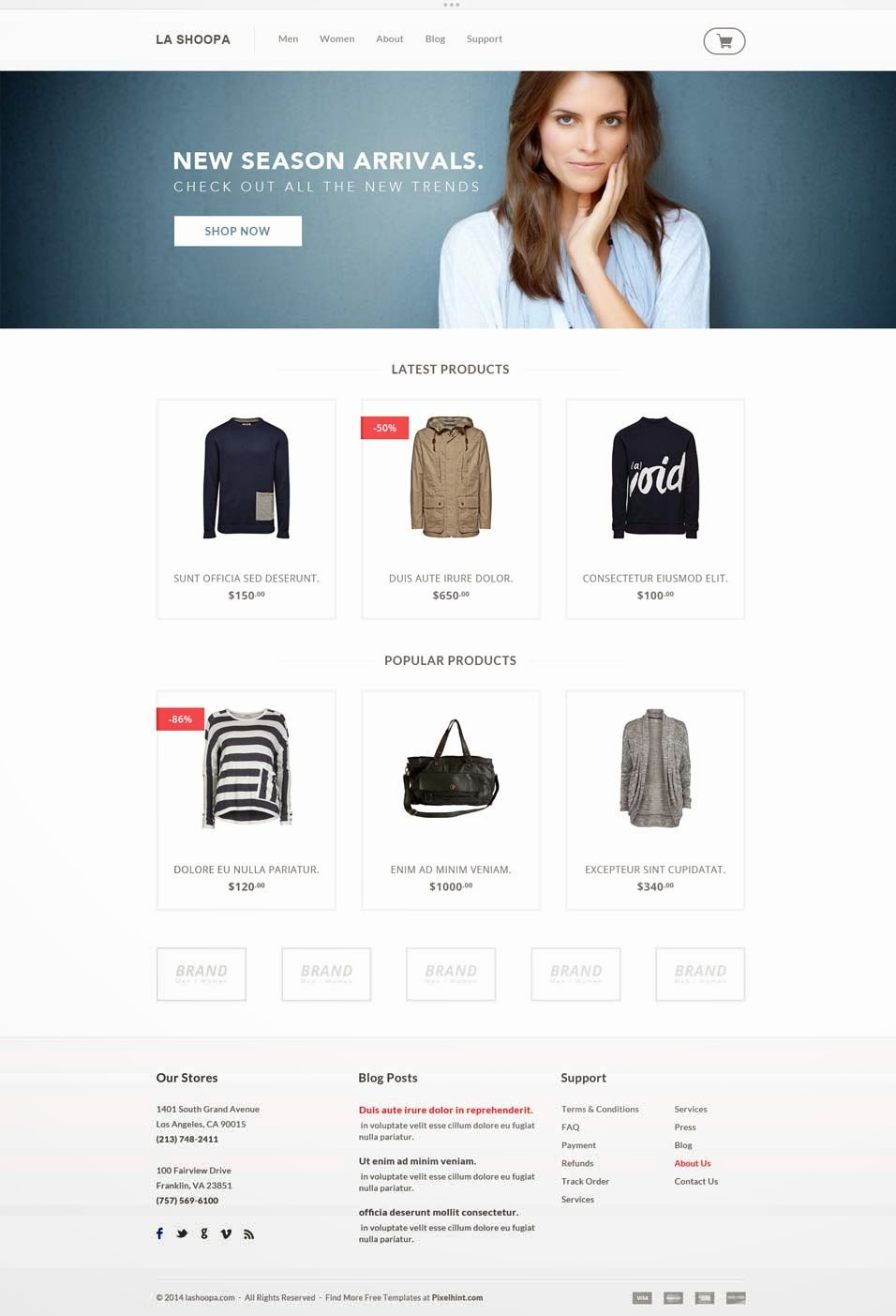 Free PSD E commerce Website Template
