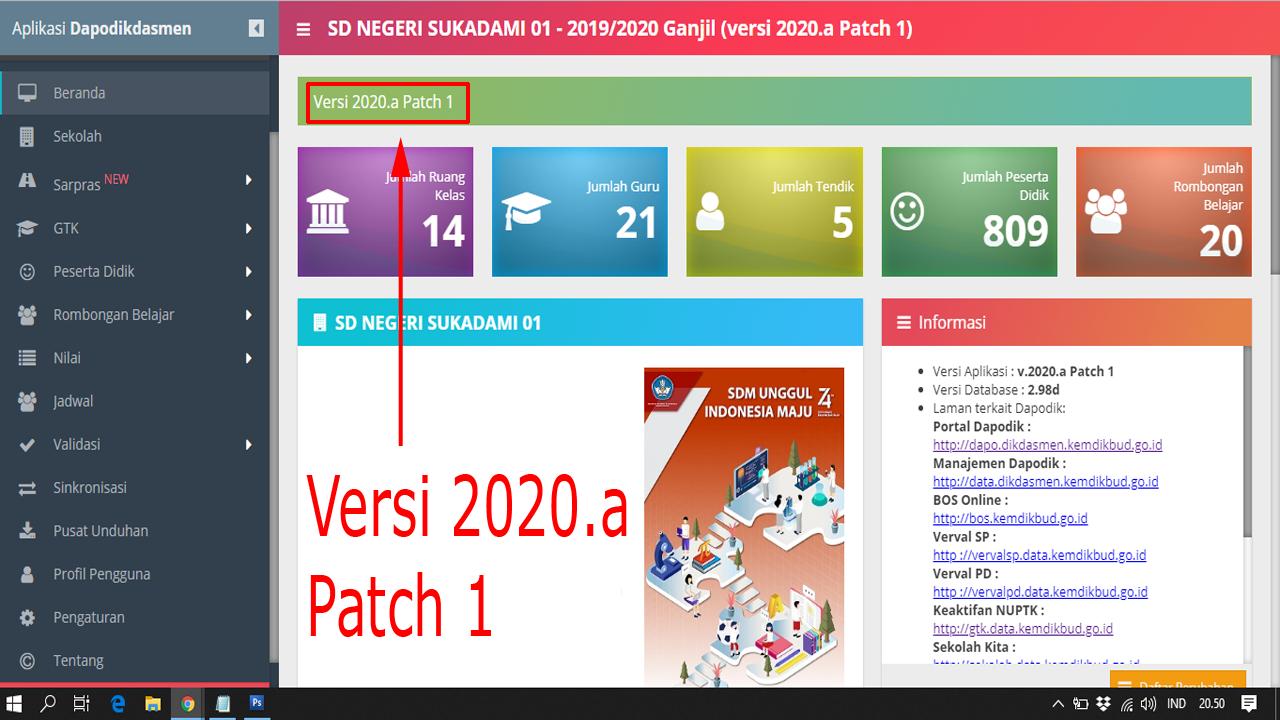 Cermati Sebelum Melakukan Pembaharuan Dapodik 2020a Patch 1