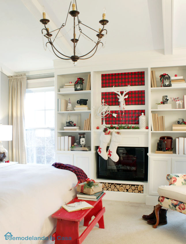plaid and red and white Christmas bedroom