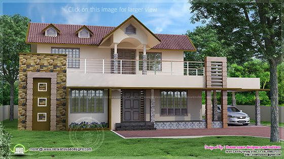 Two storey villa elevation