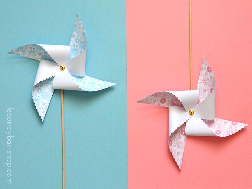 moulins à vent motif fleurs