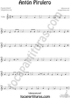 Violín Partitura de Antón Pirulero Sheet Music for Violin Music Scores