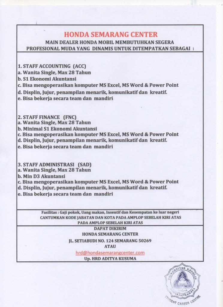 Lowongan Kerja Staff Accounting (ACC), Staff Finance (FNC), Staff Administrasi Honda Semarang Centre