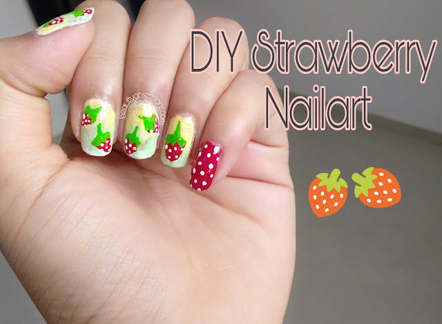 DIY Strawberry Nailart - Easy to draw...