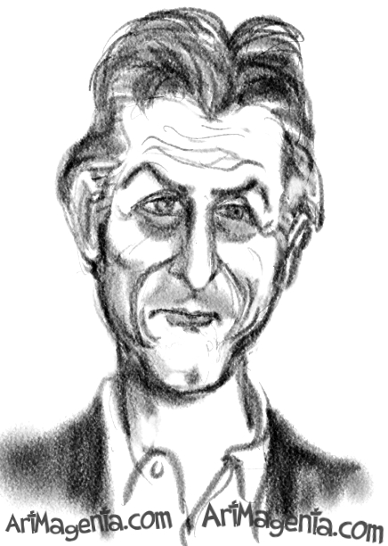 Sean Penn caricature cartoon. Portrait drawing by caricaturist Artmagenta