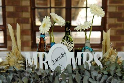 Mr & Mrs Table decorations