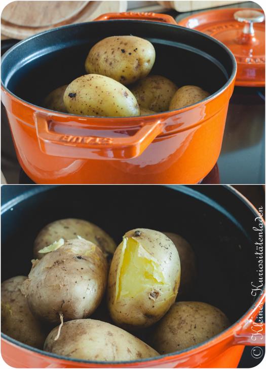 Kartoffeln vor und nach dem Kochen