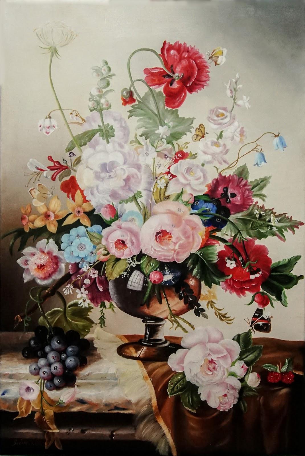 Yağlı Boya Resim Realistik Natürmort çiçekler Ve Kelebekler Türk