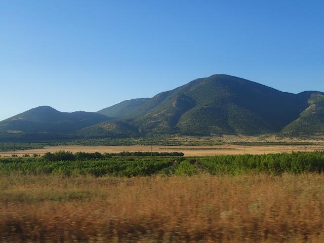 Stara Płanina i winnica gdzieś na wschodzie Bułgarii