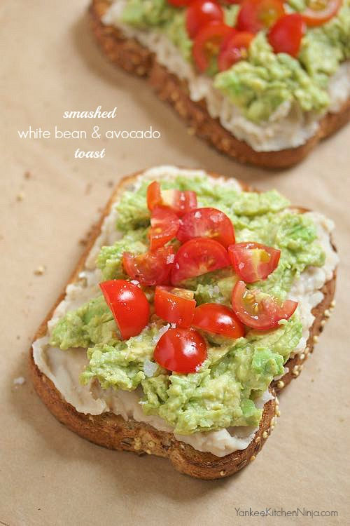 White bean and avocado toast for breakfast or lunch