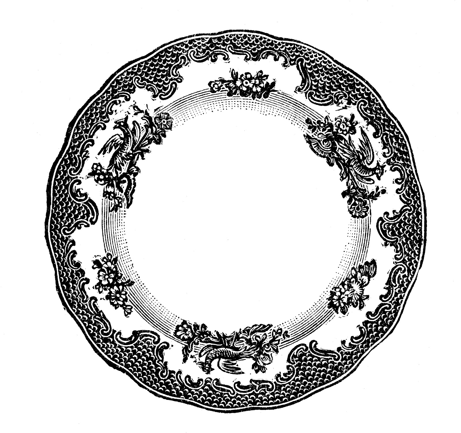Free vintage clip art images: Vintage plates and dishes ...