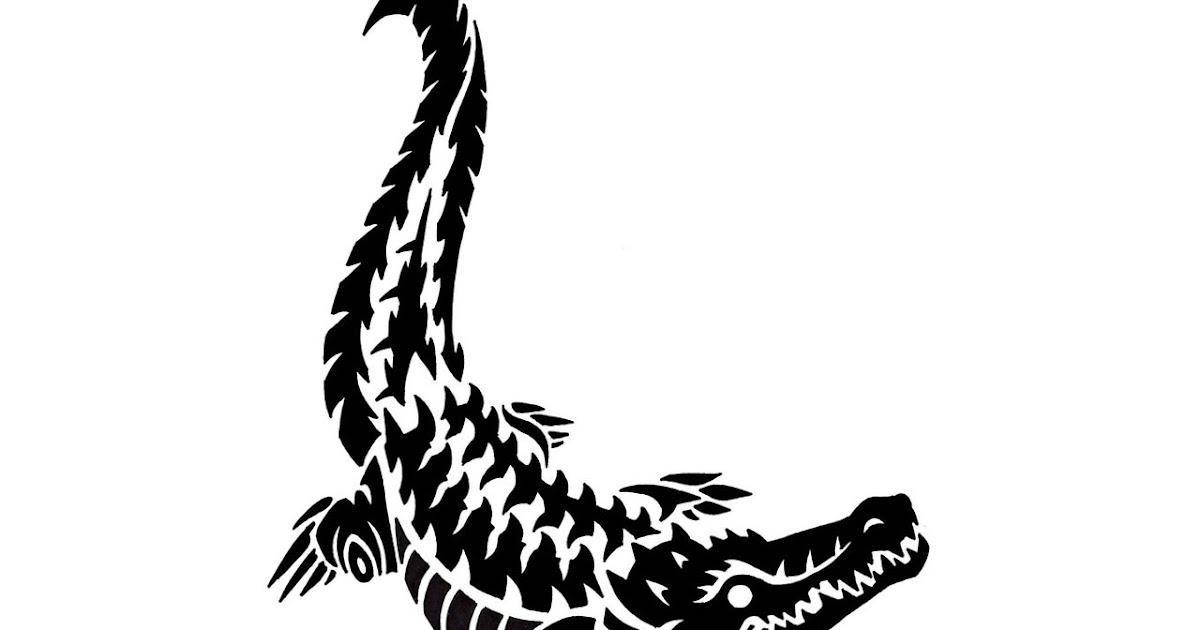 77ad9566b0660 Black Tribal Contour Of Crocodile Tattoo - Tattoo Design Ideas
