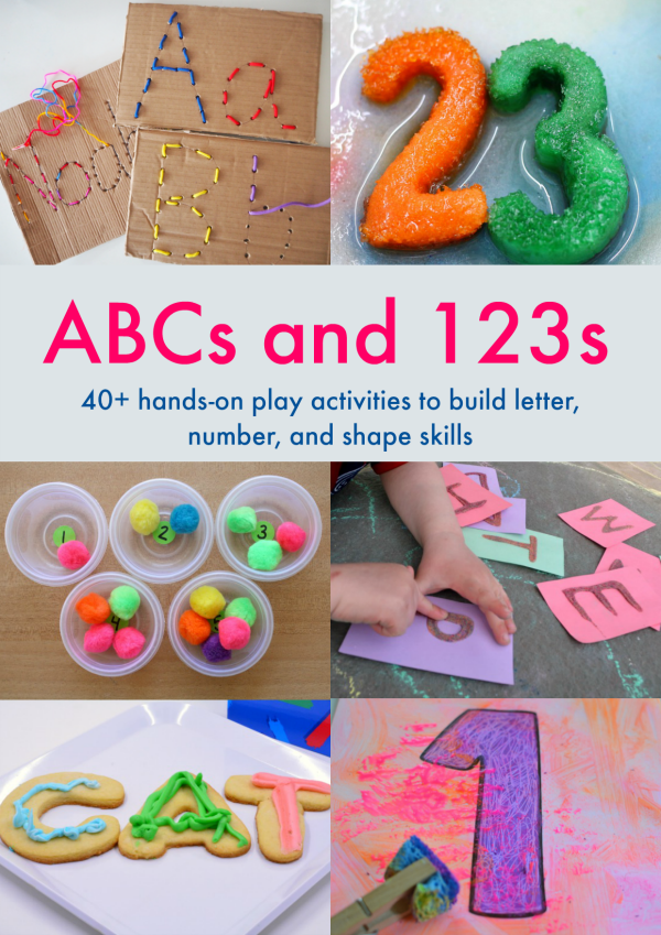 ABCs and 123s eBook - 40+ hands-on play ideas that help young children build their letter and math skills with simple, multi-sensory invitations to play | you clever monkey