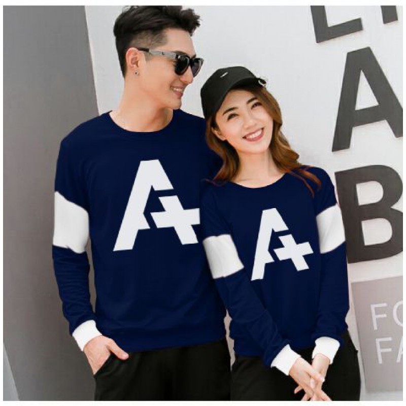 Jual Online Sweater Alpha Neo Navy Couple Murah Jakarta Bahan Babytery Terbaru