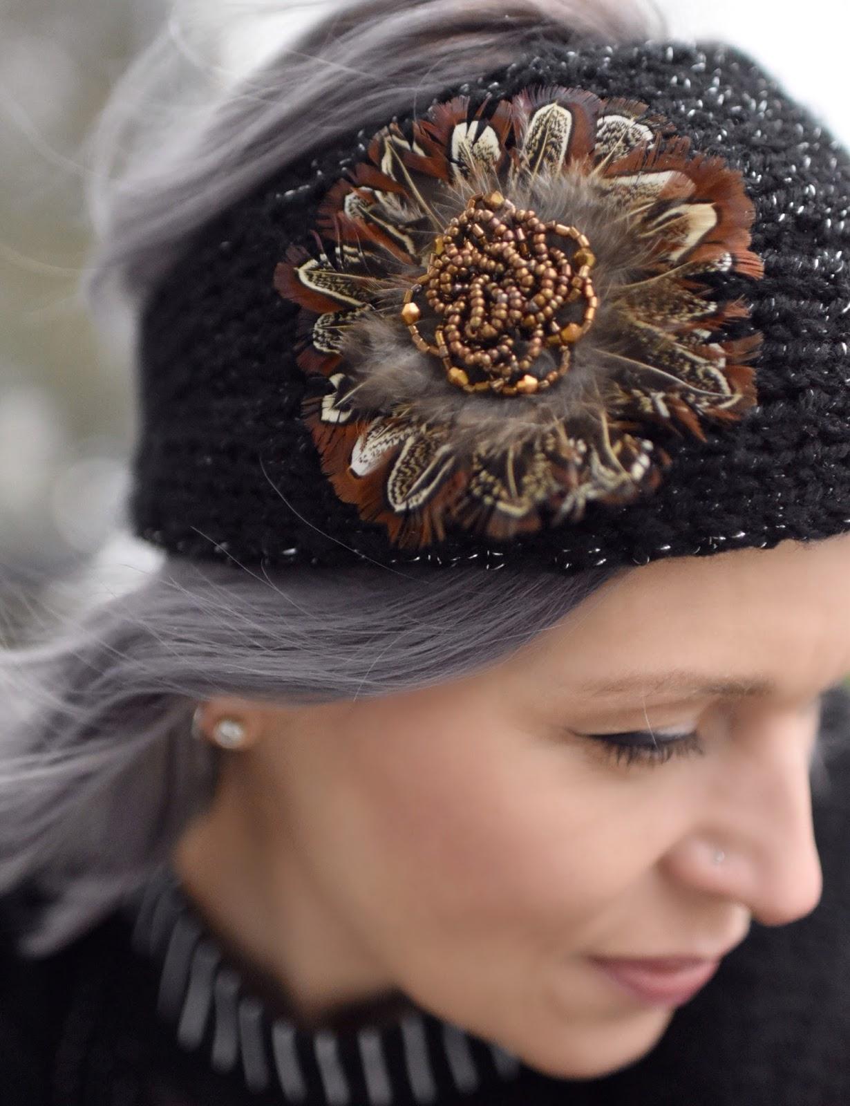 Monika Faulkner outfit inspiration - feather-embellished headband