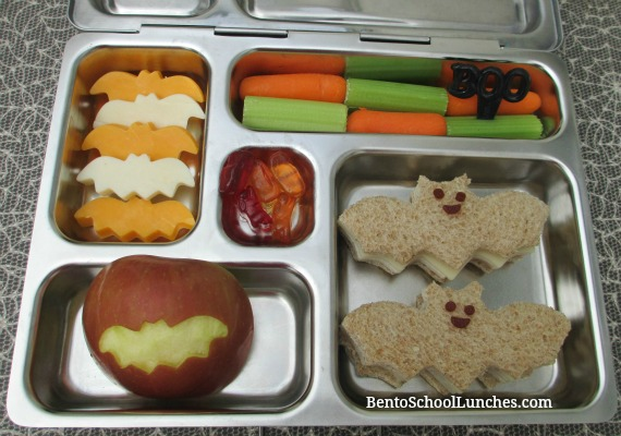 Halloween bat bento school lunch.