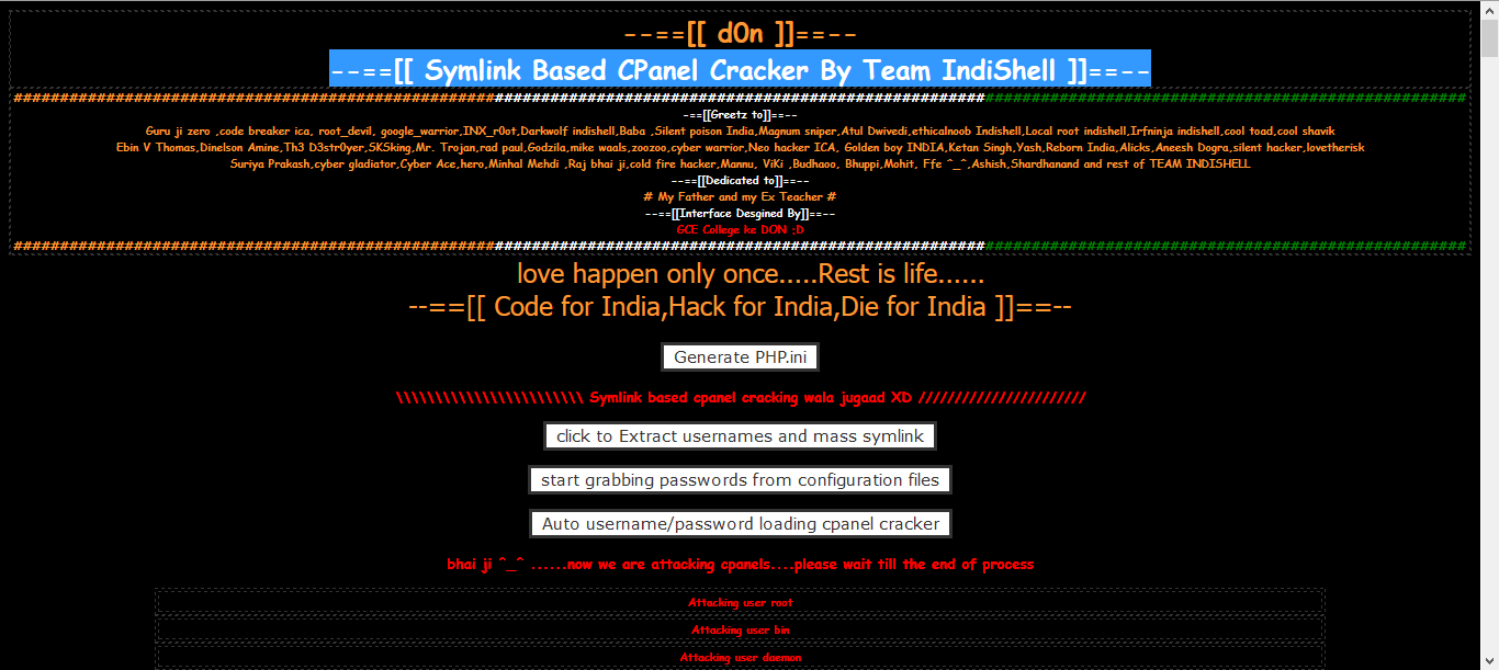 Symlink Based CPanel Cracker By Team IndiShell | Hack3r-IQ
