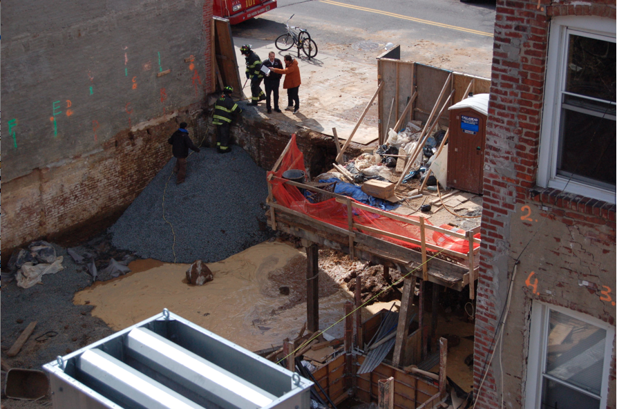 Construction Crew At Former Sokol Brothers Furniture Store On Columbia  Street Strikes Water Main A Second Time