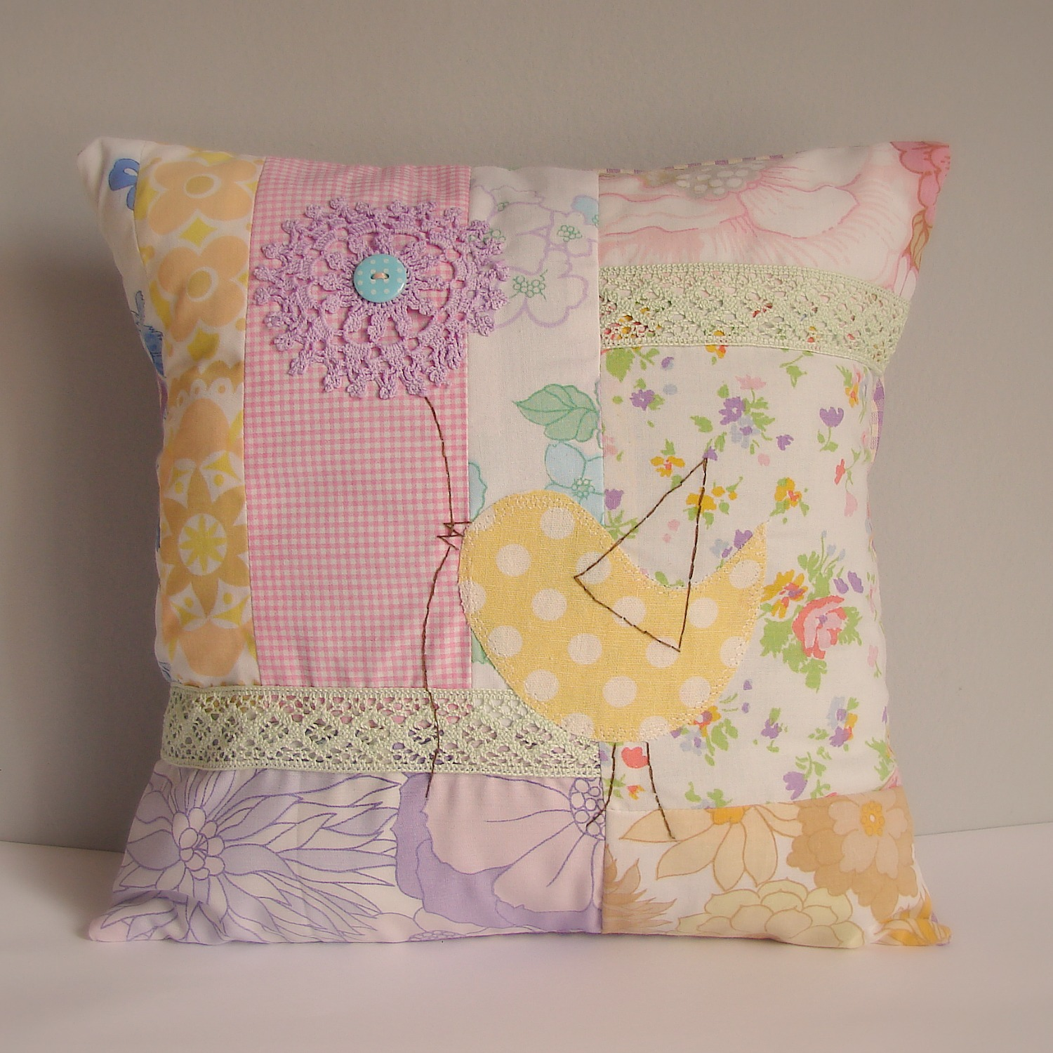 Roxy Creations Vintage Fabric Patchwork Cushions