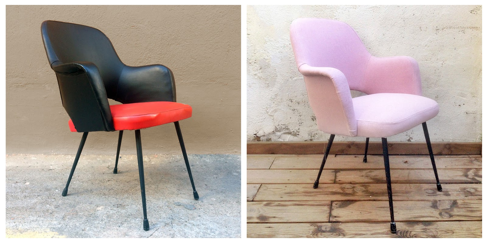 Antes y después sillón tapizado en rosa - Studio Alis
