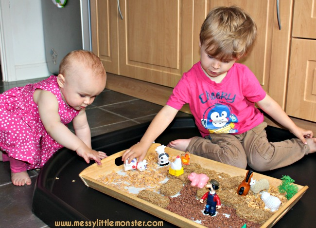 Edible/ taste safe farmyard small world play for babies, toddlers and preschoolers. EYFS.