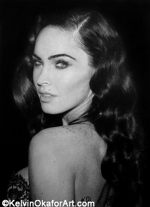 07-Megan-Fox-Kelvin-Okafor-Celebrity-Portrait-Drawings-Full-of-Emotions-www-designstack-co