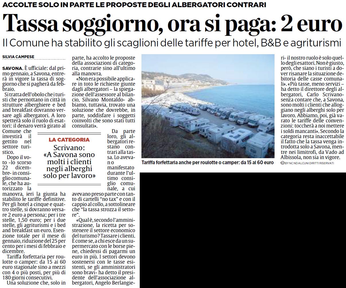ALASSIOFUTURA: Savona - Tassa di soggiorno, ora si paga: 2 euro. Il ...