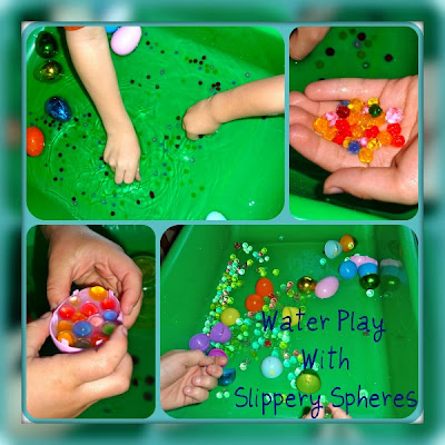 Easter Sensory Bin using plastic eggs, water, and water beads.