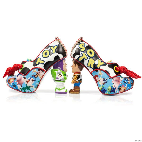 side view of Buzz Lightyear heeled shoe facing Woody Toy Story shoe with blue print uppers and red bandana laces