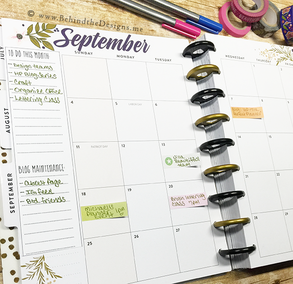 Setting up Your Blog Plan Monthly Spread in Your Happy Planner | Behind the Designs DIY Craft and Planning Blog