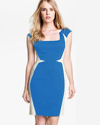 Biraz ince zayıf gösteren mavi beyaz elbise