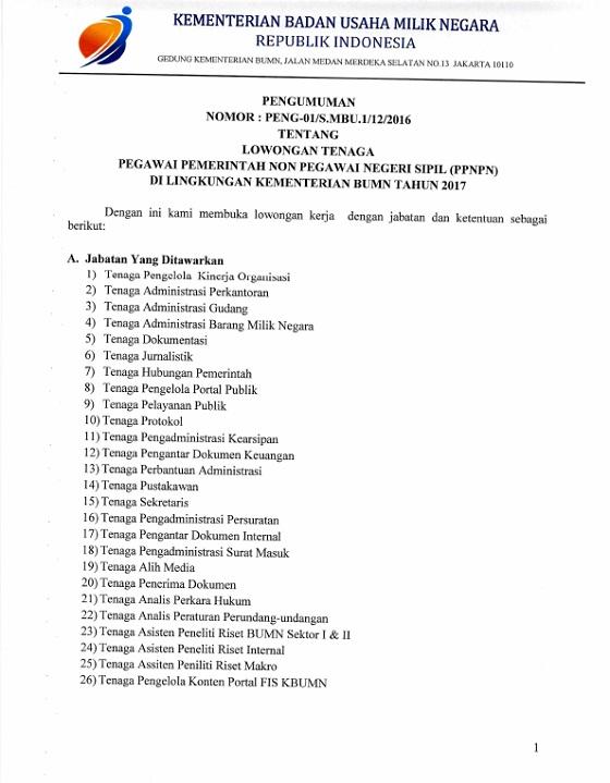 Info Lowongan Tenaga Pegawai Pemerintah Non Pegawai Negeri Sipil (PPNPN) Kementerian BUMN Tahun 2017