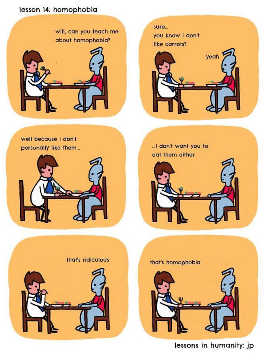 20 Genius Comics Of A Human Explaining Social Behavior To An Alien