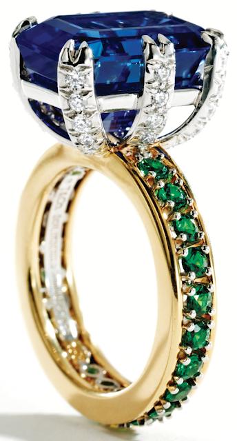 Sapphire tsavorite garnet and diamond ring by for Sapphire studios jewelry reviews