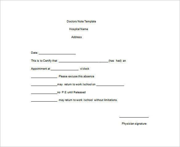 Doctors Note Template
